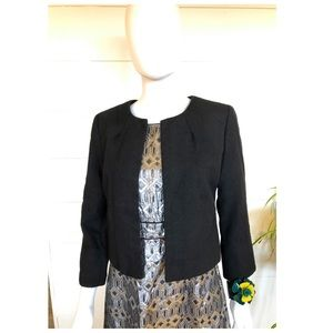 J Crew Wool Bolero Jacket Med/8 Black Herringbone